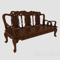 欧式实木多人沙发3d模型下载