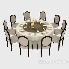 酒店餐桌餐椅3d模型下载