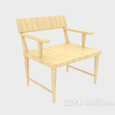 原木扶手休闲椅3d模型下载