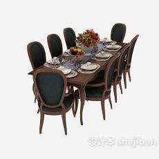 美式风格餐桌餐椅3d模型下载