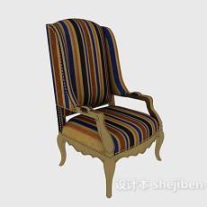 条纹布料家居椅3d模型下载