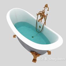 欧式风格奢华浴缸3d模型下载