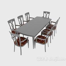 八人餐桌椅3d模型下载