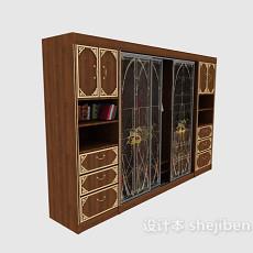 带书架的推拉门大衣柜3d模型下载