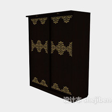 镶花纹推拉衣柜3d模型下载