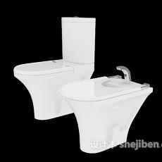 白色坐便马桶3d模型下载