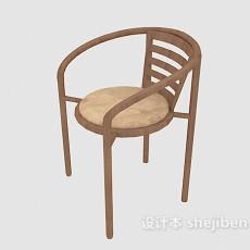 棕色实木餐椅3d模型下载