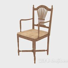 精致实木扶手椅3d模型下载