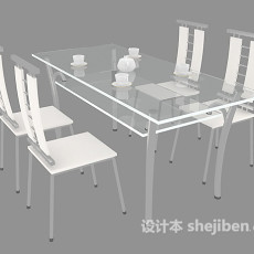现代餐厅家居餐桌椅3d模型下载
