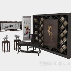 中式书桌、书柜整体组合3d模型下载