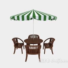 沙滩遮阳伞和餐椅3d模型下载