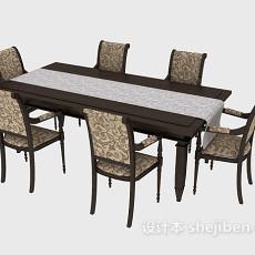 家居六人餐桌3d模型下载