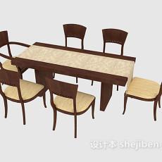 家庭简洁餐桌餐椅3d模型下载