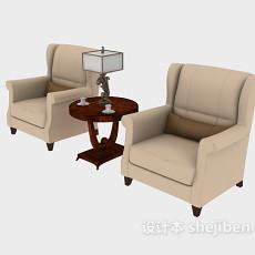 新中式单人沙发3d模型下载