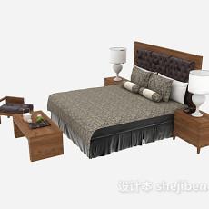 中式家具双人床3d模型下载