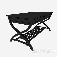 中式黑色书桌3d模型下载
