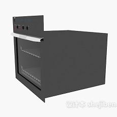 黑色家用微波炉3d模型下载
