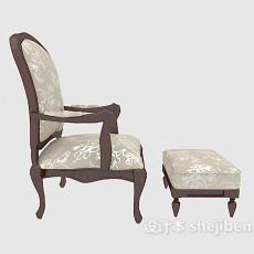 欧式单人沙发椅凳3d模型下载