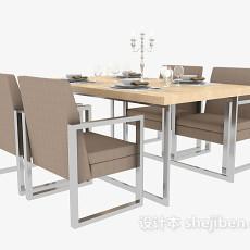 四人餐厅桌椅3d模型下载