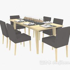 实木餐桌餐椅组合3d模型下载