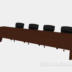 长形办公桌3d模型下载