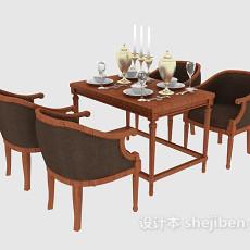 四人餐桌椅椅组合3d模型下载