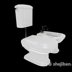 坐便器、洗手池组合3d模型下载