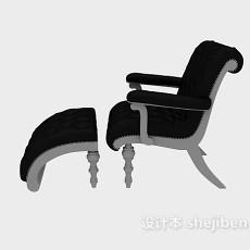 欧式实木单人沙发椅3d模型下载