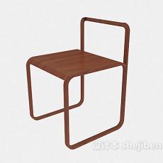棕色简约休闲椅3d模型下载