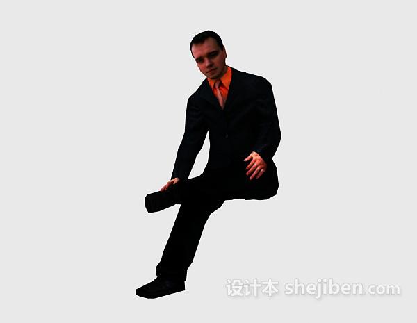 西装男人坐姿3dmax人物模型下载