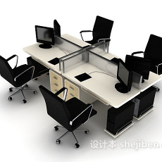 多人办公电脑桌3d模型下载