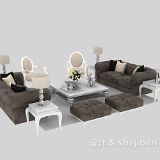 欧式真皮组合沙发茶几3d模型下载