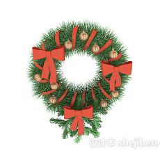 圣诞花圈3d模型下载