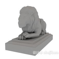 狮子雕塑3d模型下载