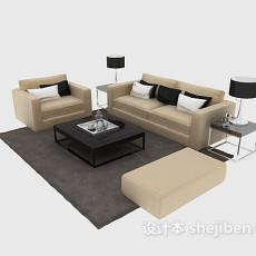 现代沙发组合茶几3d模型下载