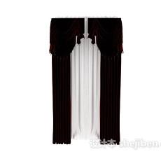 欧式酒红色窗帘3d模型下载