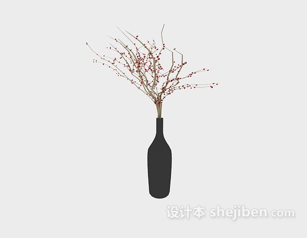黑色花瓶插花3d模型下载