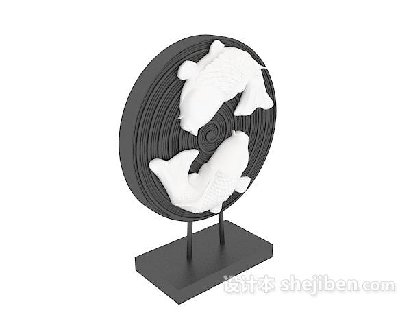 中式双鱼雕塑摆件3d模型