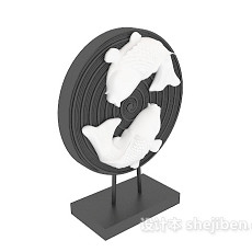 中式双鱼雕塑摆件3d模型下载