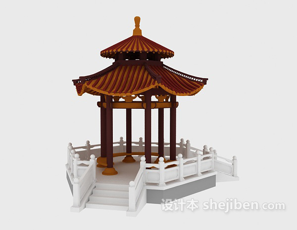 景观亭子设计3D模型下载