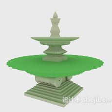 欧式跌水喷泉3d模型下载