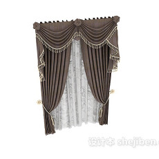 灰色窗帘图片3d模型下载