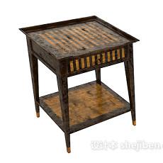 木质儿童房石桌3d模型下载