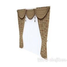 欧式复古窗帘3d模型下载