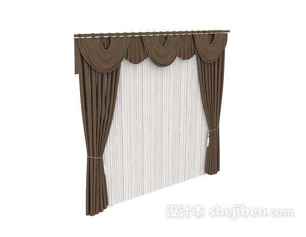 单色欧式窗帘3dmax窗帘模型下载