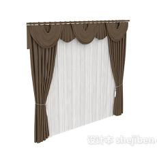 单色欧式窗帘max窗帘3d模型下载