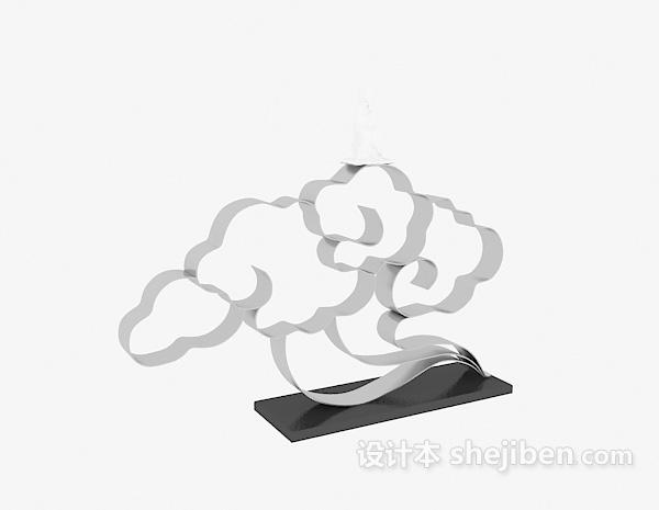 中式祥云雕塑摆件3d模型