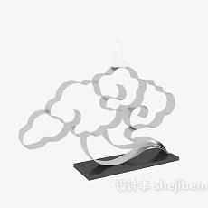 中式祥云雕塑摆件3d模型下载