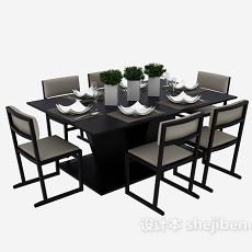 现代时尚多人餐桌3d模型下载