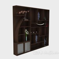 中式餐边装饰柜3d模型下载
